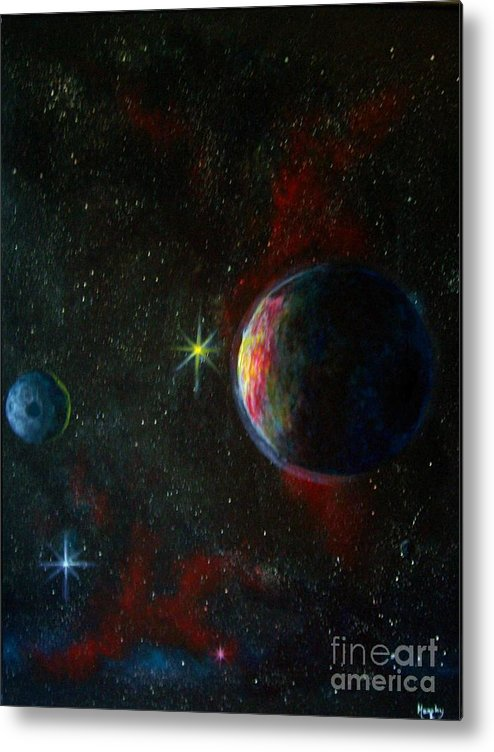 Cosmos Metal Print featuring the painting Alien Worlds by Murphy Elliott
