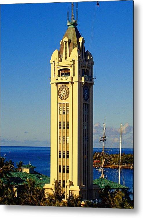 Aloha Metal Print featuring the photograph Aloha Tower by Jenny Hudson