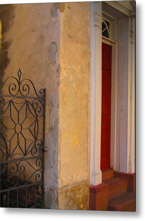 Red Metal Print featuring the photograph Around The Corner by Morgen Walker