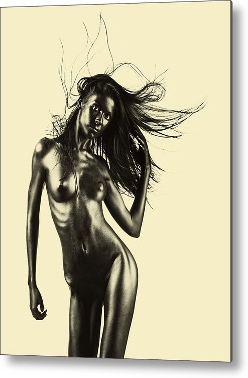 Beige Metal Print featuring the pyrography Artistic Nude Of Young Woman Beige Background by Dan Comaniciu