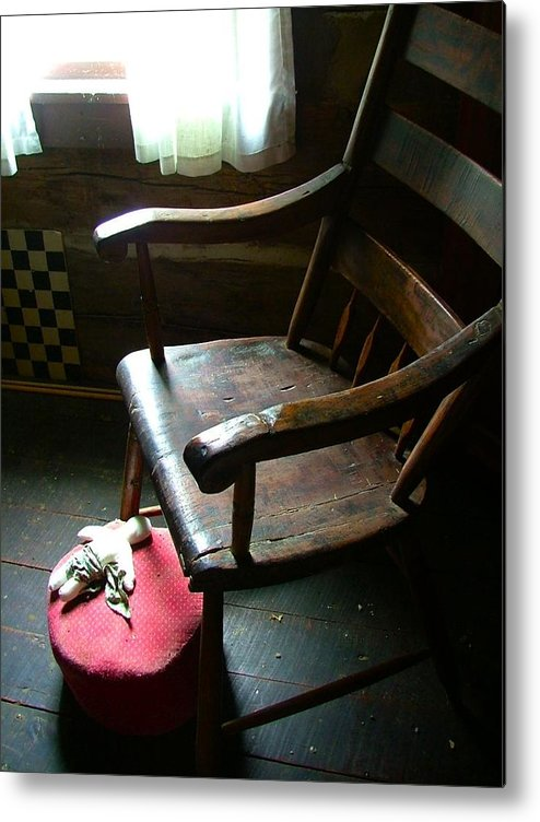 Wooden Chair Metal Print featuring the photograph Aunt Tillie's Sewing Chair by Julie Dant