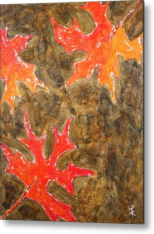 Maple Leaves Metal Print featuring the painting Autumn Maple Leaves by Kiruba Sekaran