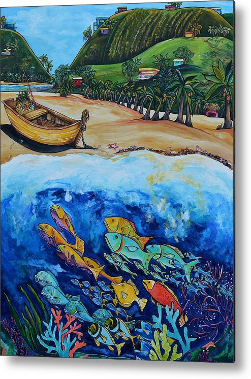 Away With The Fishes Metal Print featuring the painting Away With The Fishes by Patti Schermerhorn