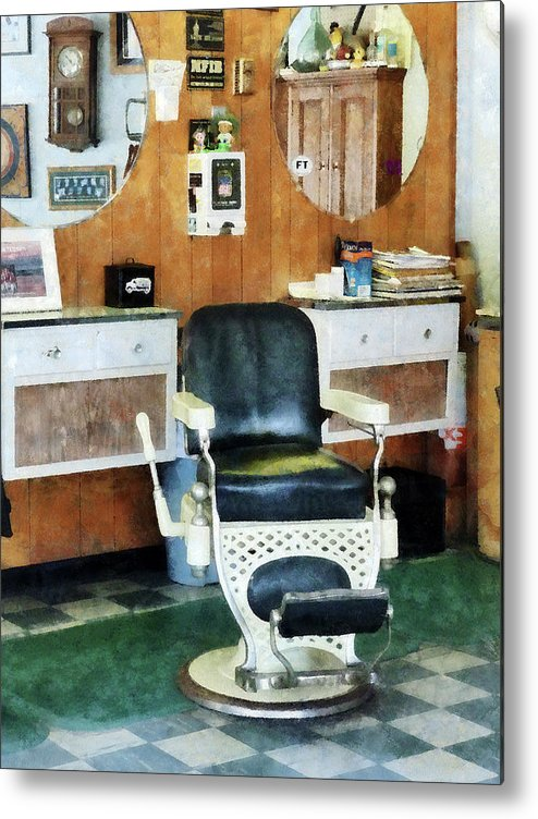 Barber Metal Print featuring the photograph Barber - Barber Shop One Chair by Susan Savad