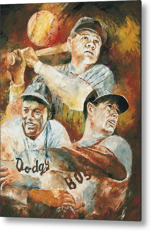 Sports Metal Print featuring the painting Baseball Legends Babe Ruth Jackie Robinson And Ted Williams by Christiaan Bekker
