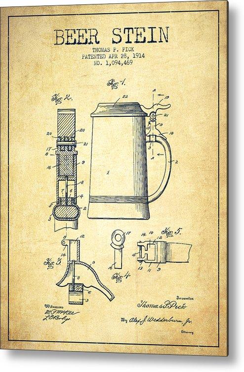 Beer Mug Metal Print featuring the digital art Beer Stein Patent From 1914 -vintage by Aged Pixel