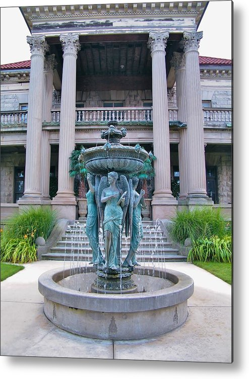 Mansion Metal Print featuring the photograph Beiger Mansion Front Entrance by Rory Cubel
