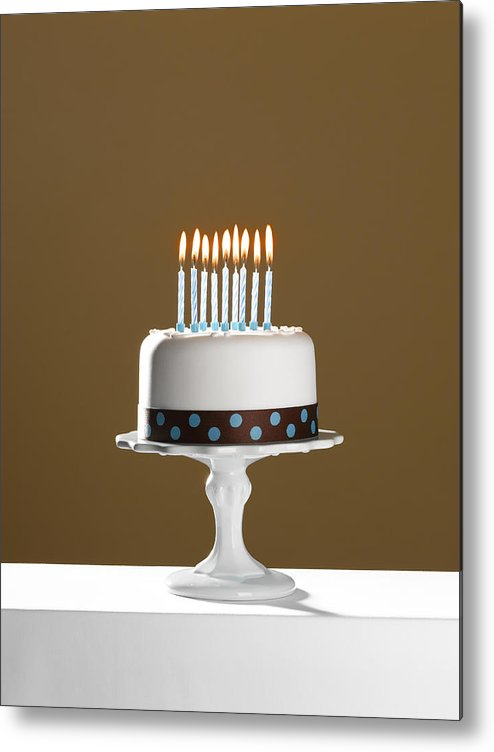 Wishing Metal Print Featuring The Photograph Birthday Cake With Lit Candles On Stand By Andy