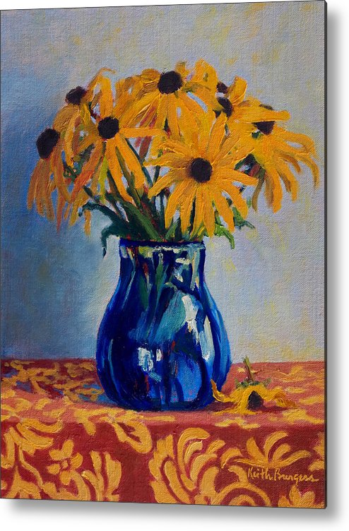 Impressionism Metal Print featuring the painting Black Eyed Susans by Keith Burgess