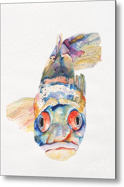 Pat Saunders-white Metal Print featuring the painting Blue Fish  by Pat Saunders-White