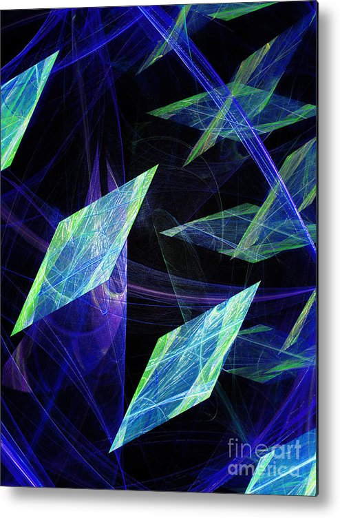 Abstract Metal Print featuring the digital art Blue Floating Diamonds by Andee Design