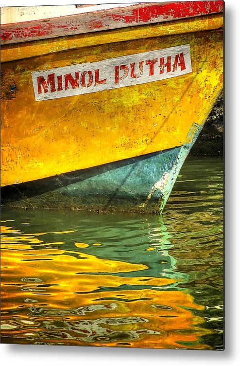 Reflection Metal Print featuring the photograph Boat Reflection by Simon Northcott