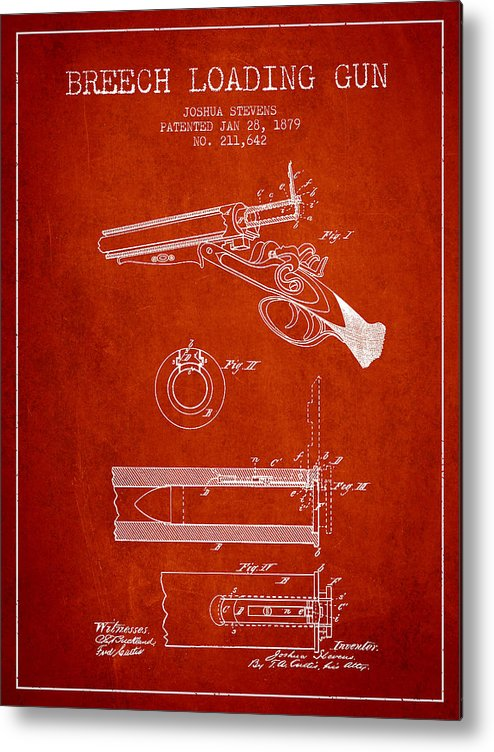 Rifle Patent Metal Print featuring the digital art Breech Loading Shotgun Patent Drawing From 1879 - Red by Aged Pixel