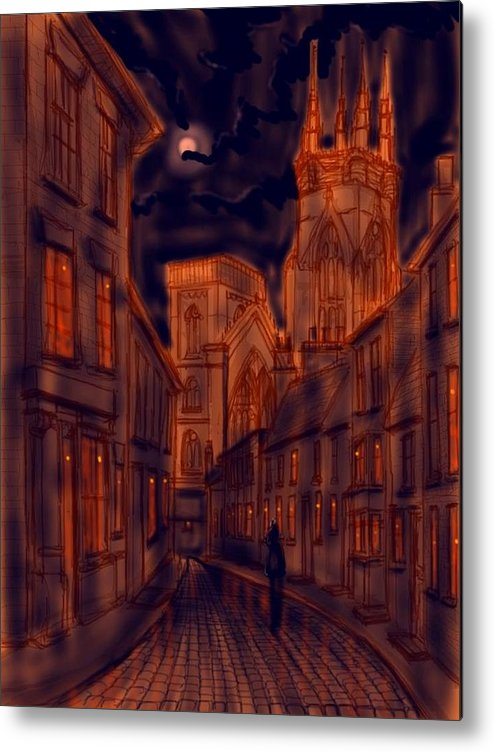Ipad Metal Print featuring the painting Bridlington Priory In Orange And Blue by Glenn Marshall