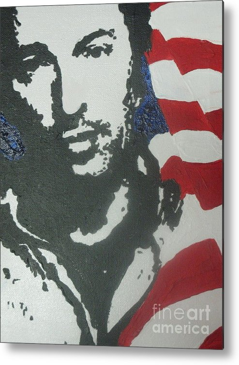 Rock N Roll Metal Print featuring the painting Bruce by Moira Ferguson