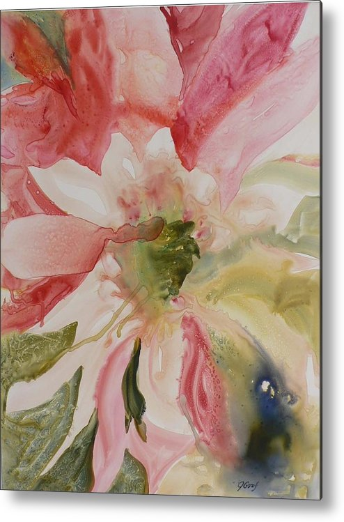 Flower Metal Print featuring the painting Cactus Flower by Julia Graf