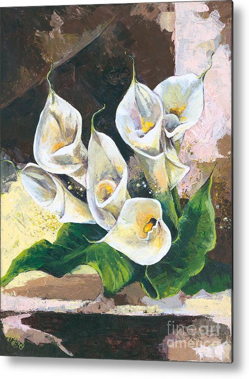 Canvas Prints Metal Print featuring the painting Callas by Elisabeta Hermann