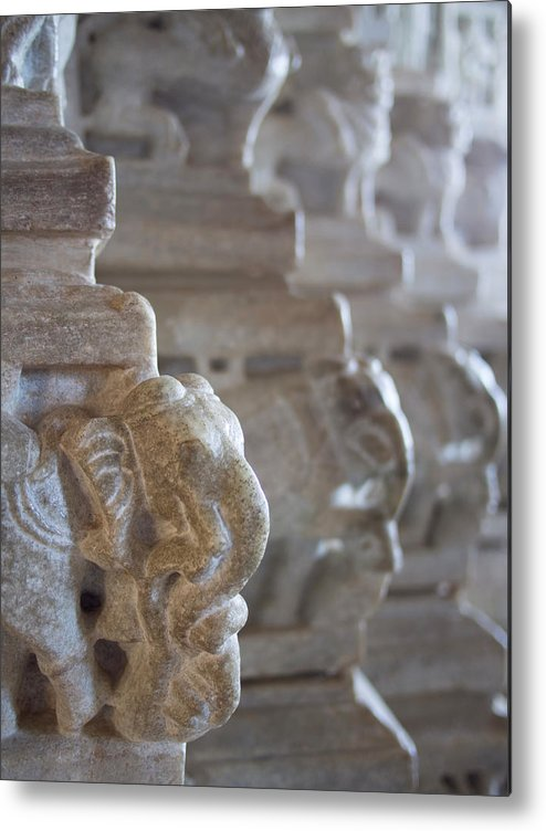 Animal Metal Print featuring the photograph Carved Elephant Sculpture On Columns by David H. Wells