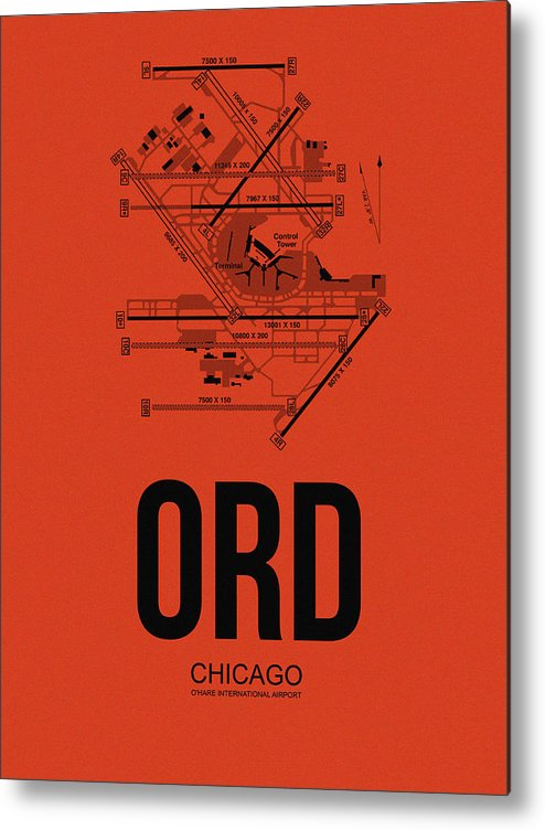 Chicago Metal Print featuring the digital art Chicago Airport Poster 1 by Naxart Studio