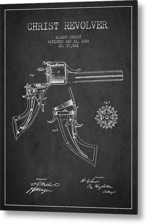 Pistol Patent Metal Print featuring the digital art Christ Revolver Patent Drawing From 1866 - Dark by Aged Pixel