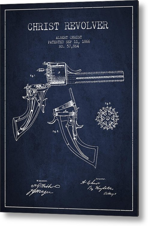 Pistol Patent Metal Print featuring the digital art Christ Revolver Patent Drawing From 1866 - Navy Blue by Aged Pixel