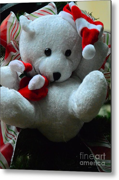 White Metal Print featuring the photograph Christmas Teddy Bear by Kathleen Struckle