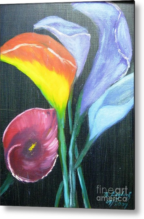 Flowers Metal Print featuring the painting Colors Of Calla Lillies by Betty and Kathy Engdorf and Bosarge