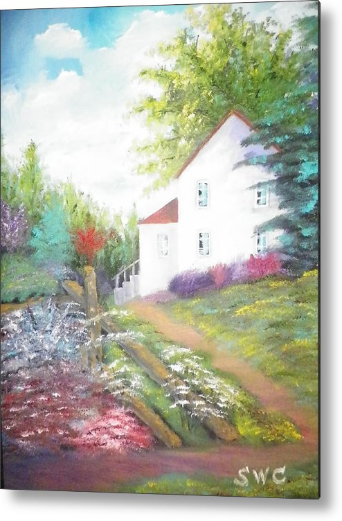 Oil Painting Metal Print featuring the painting Cottage Gardens by Steven Clayton