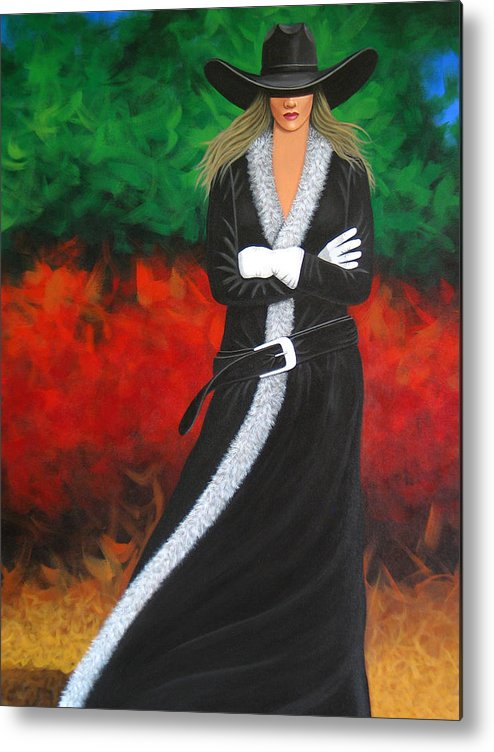 Pretty Cowgirl Metal Print featuring the painting Cowgirl by Lance Headlee
