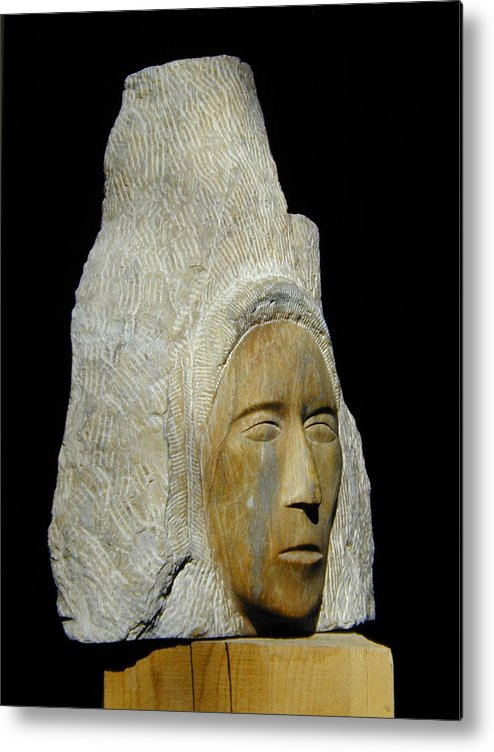 Sculpture Metal Print featuring the sculpture Curandera by Manuel Abascal