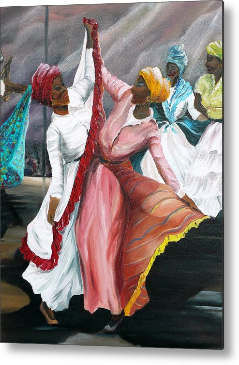 Dancers Folk Caribbean Women Painting Dance Painting Tropical Dance Painting Metal Print featuring the painting Dance The Pique 2 by Karin Dawn Kelshall- Best