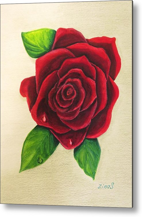 Rose Metal Print featuring the painting Dark Red Rose by Zina Stromberg