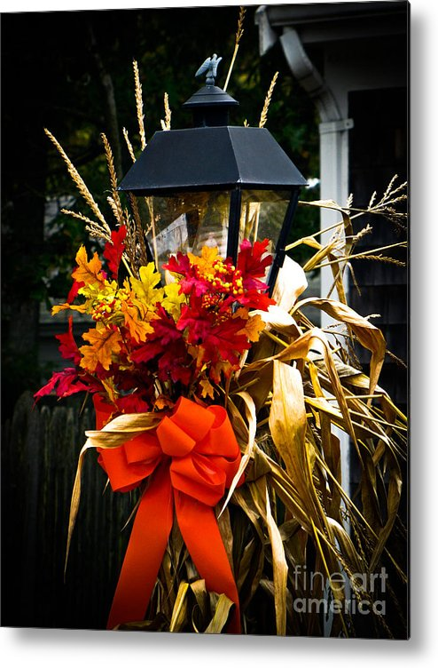 Fall Foliage Metal Print featuring the photograph Decorated Lamp Post by Charlene Gauld