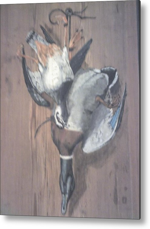 Two Birds Metal Print featuring the painting Dinner by Stephen Thomson