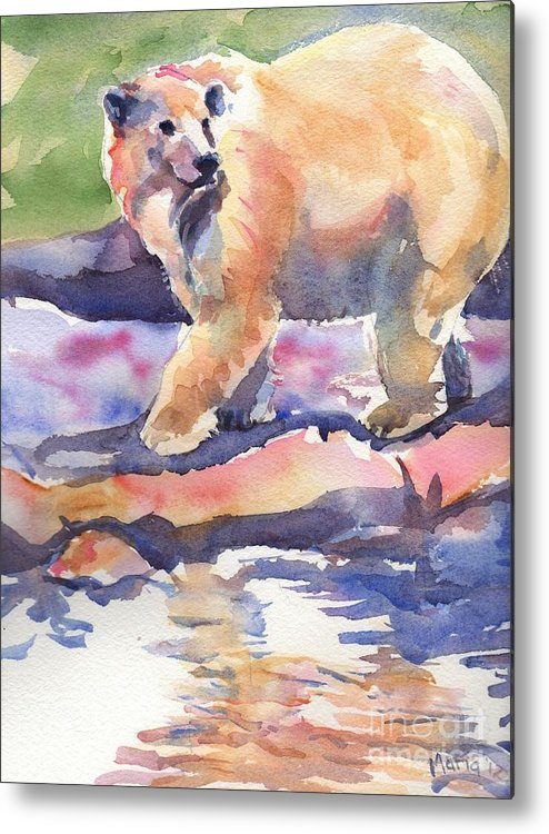 Polar Bear Watercolor Painting Metal Print featuring the painting Don't Look Back by Maria's Watercolor