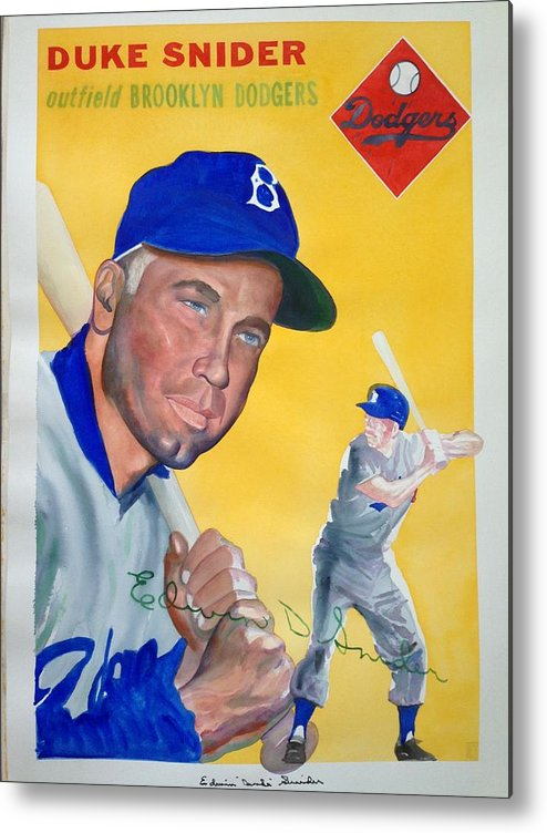 Brooklyn Metal Print featuring the painting Duke Snider by Robert Myers