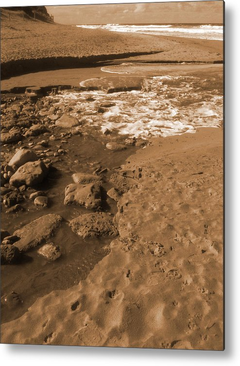 Sepia Metal Print featuring the photograph Ebb And Flow by Amanda Holmes Tzafrir