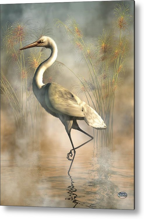 Egret Metal Print featuring the digital art Egret by Daniel Eskridge