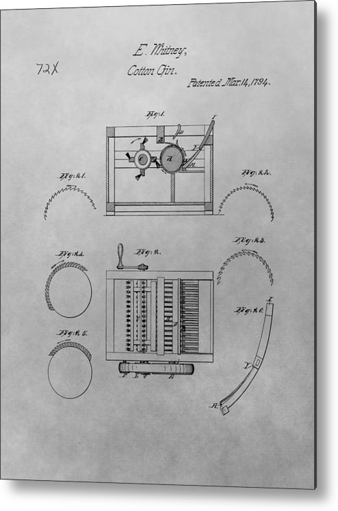 eli whitney cotton gin patent drawing metal print by dan sproul