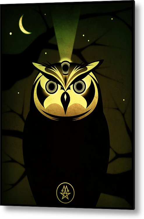 Owl Metal Print featuring the digital art Enlightened Owl by Milton Thompson