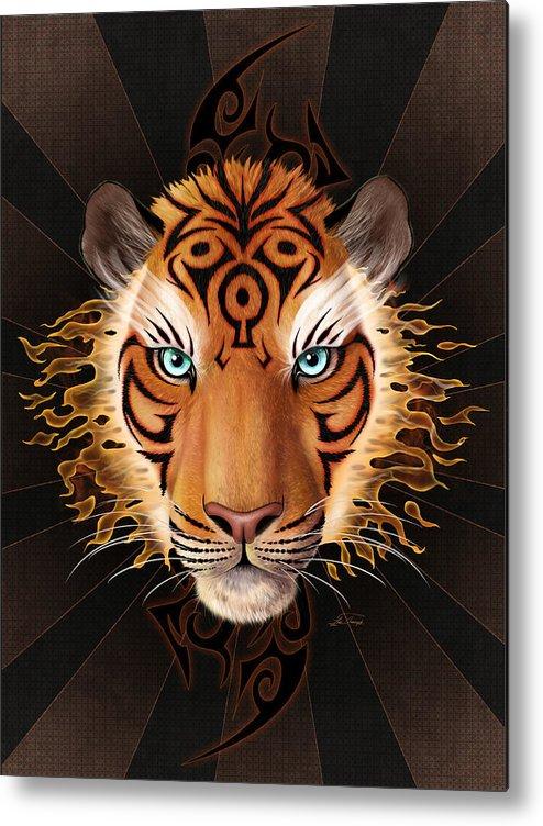 Tiger Metal Print featuring the digital art Firey Beauty by Lia Smazik