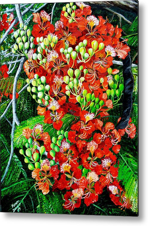 Royal Poincianna Painting Flamboyant Painting Tree Painting Botanical Tree Painting Flower Painting Floral Painting Bloom Flower Red Tree Tropical Paintinggreeting Card Painting Metal Print featuring the painting Flamboyant In Bloom by Karin Dawn Kelshall- Best