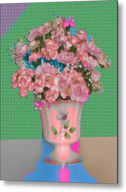 Flowers And Purple Metal Print featuring the digital art Flora With Purple And Green by Good Taste Art