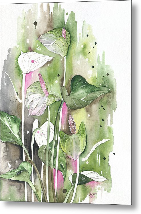 Yakubovich Metal Print featuring the painting Flower Anthurium 04 Elena Yakubovich by Elena Yakubovich