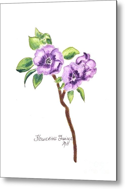 Photo Metal Print featuring the painting Flowering Quince by Marsha Heiken