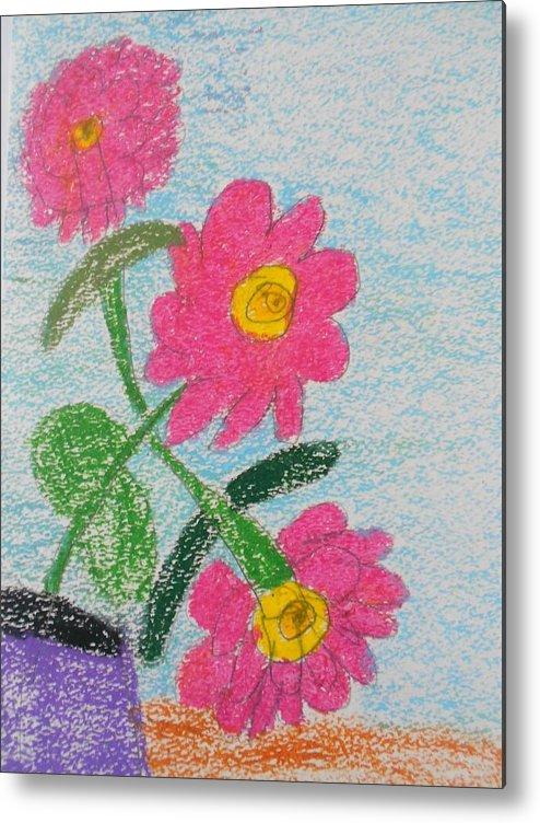 Oil Pastel Paints Metal Print featuring the pastel Flowers by Epic Luis Art