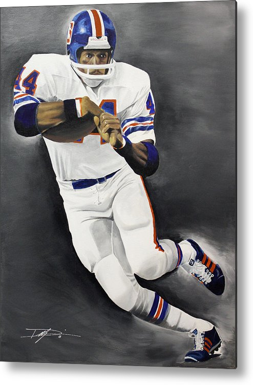 Floyd Little Metal Print featuring the drawing Floyd Little by Don Medina