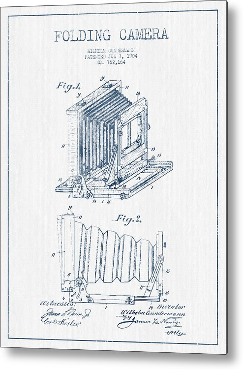 Camera Metal Print featuring the digital art Folding Camera Patent Drawing From 1904 - Blue Ink by Aged Pixel