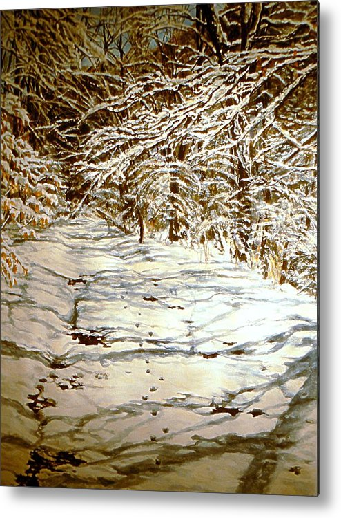 Snow Scene Metal Print featuring the painting Following Max by Thomas Akers