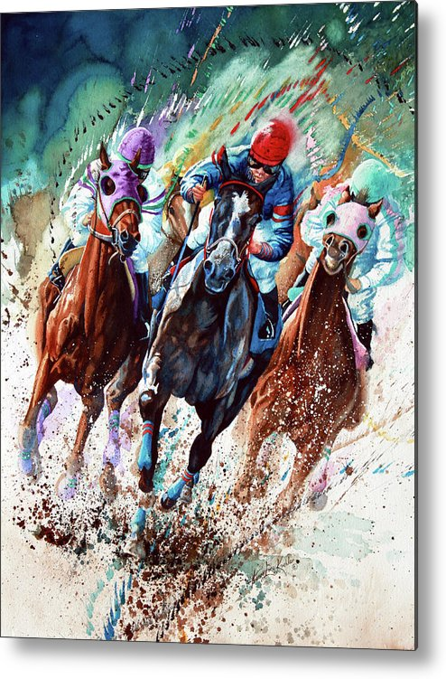 Sports Art Metal Print featuring the painting For The Roses by Hanne Lore Koehler